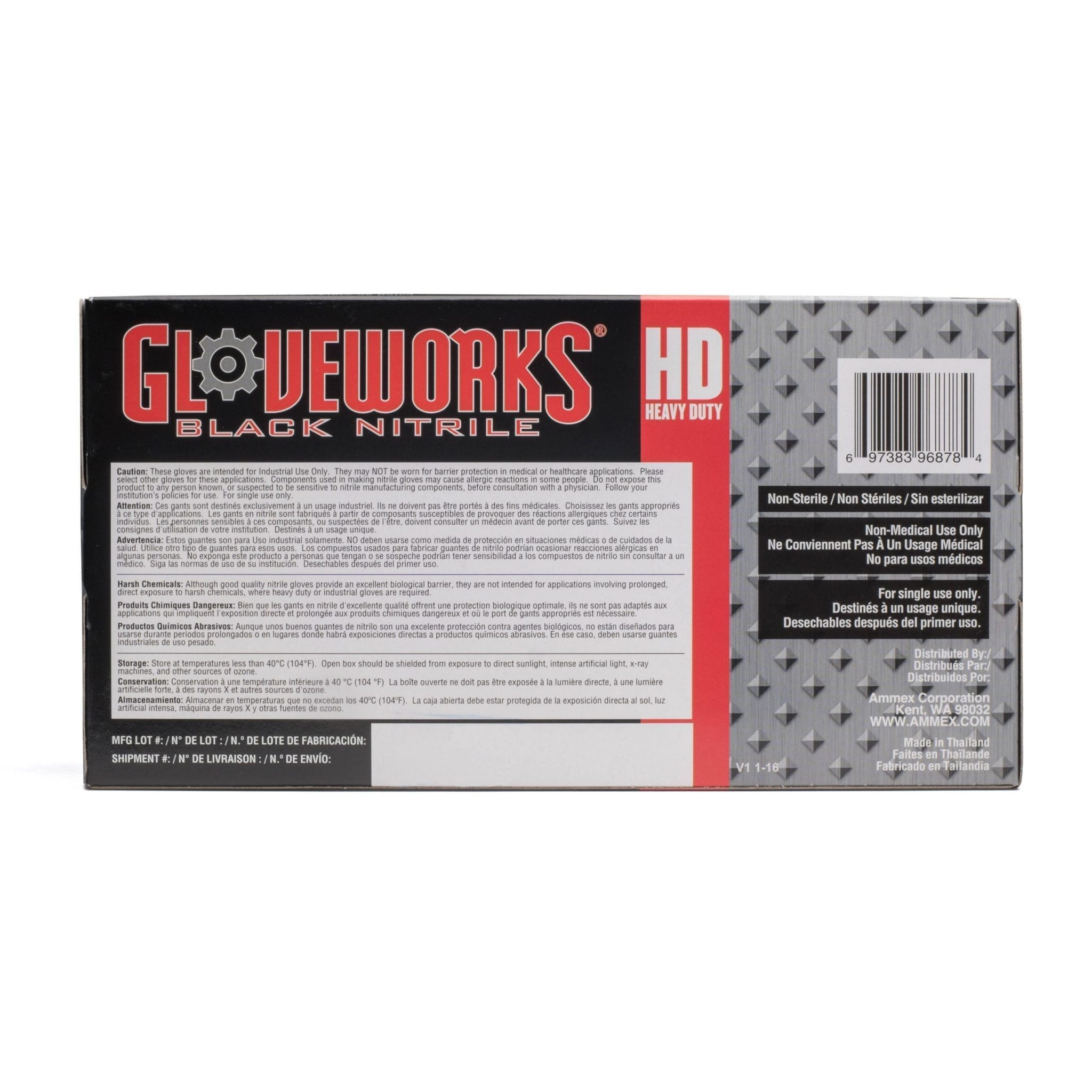 Gloveworks HD Black Nitrile Industrial Latex Free Disposable Gloves