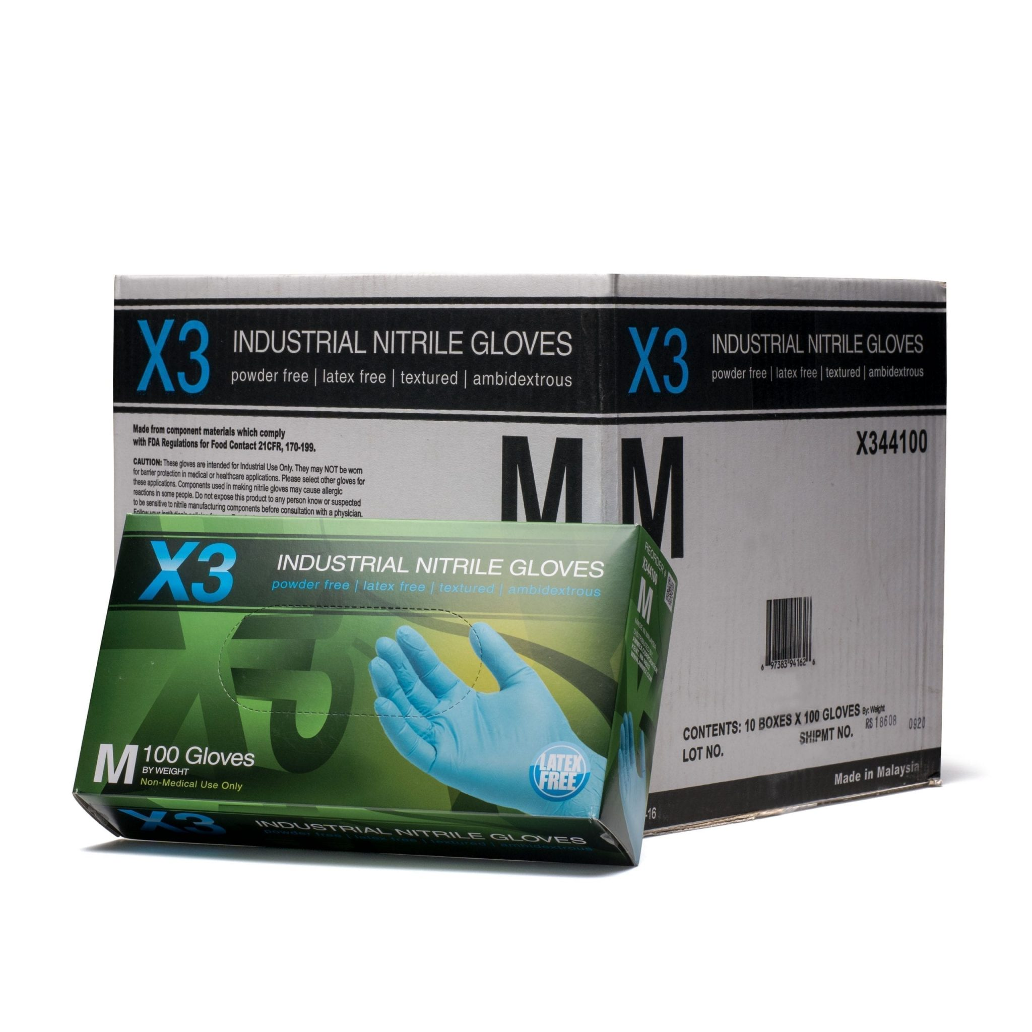 AMMEX X3 Blue Nitrile Industrial Latex Free Disposable Gloves