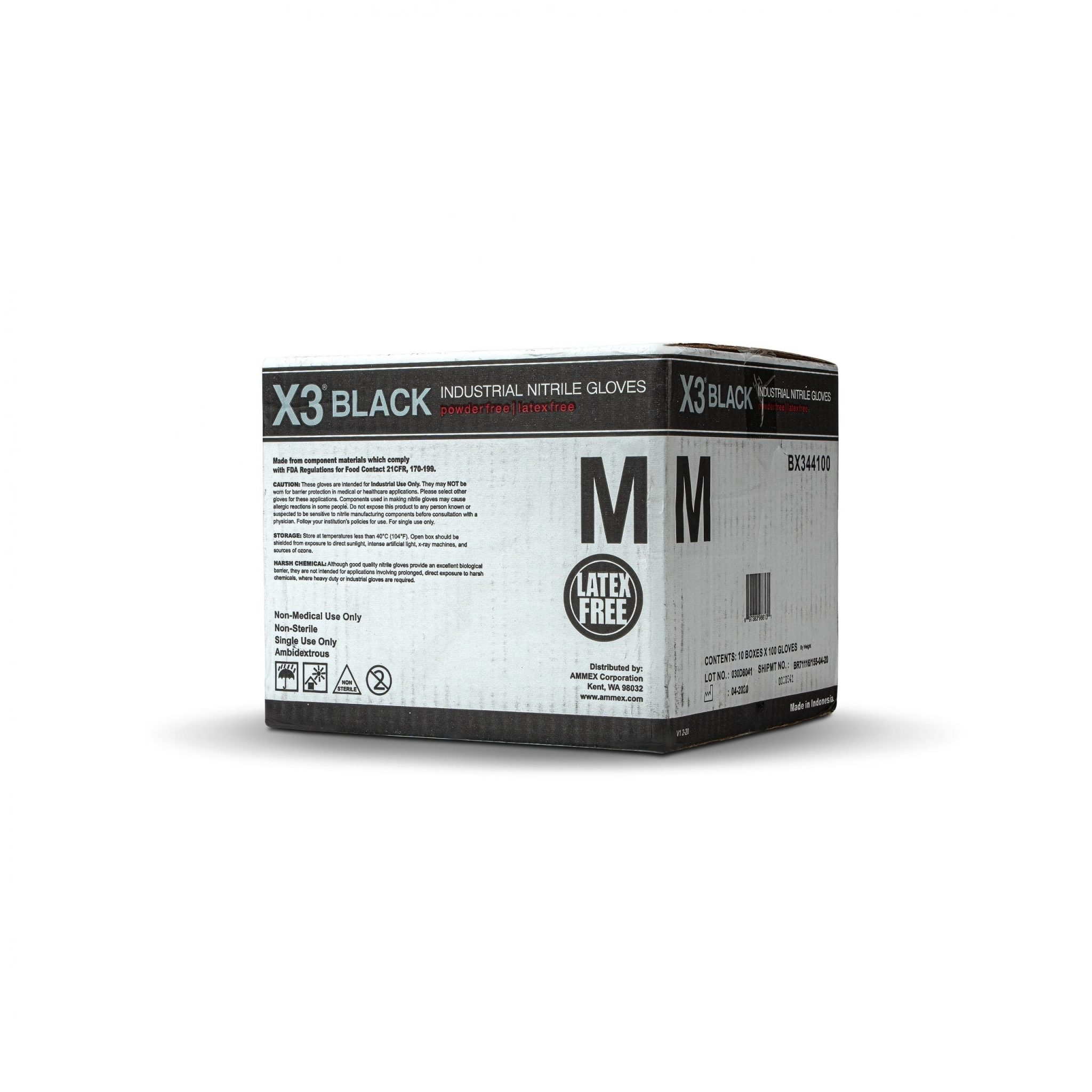 AMMEX BX3 Black Nitrile Industrial Latex Free Disposable Gloves
